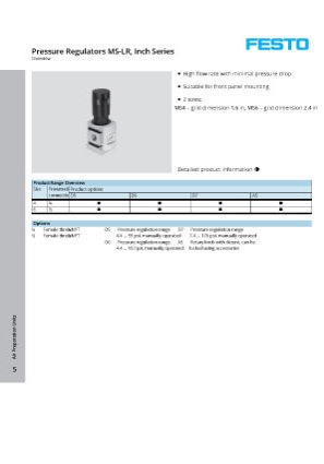 Festo Regulator Catalog
